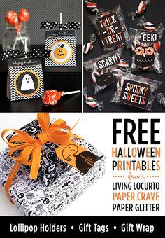 I Love these Halloween FREE Printables!! Cute designs by LivingLocurto.com, Papercrave.com & PaperGlitter.com