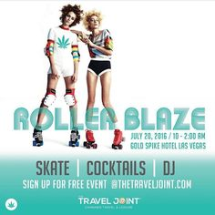 See you at The Rollerblaze Party by @thetraveljoint! We can't wait to go on Wednesday! - Repost @thetraveljoint - Free to everyone! Sign up at TheTravelJoint.com (Pretty sure there will be #pokemongo there to catch) #cannabis #vegas #marijuana #rollerskate #lasvegas #420 #traveljoint #thetraveljoint
