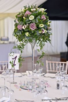 Tall Centerpiece: vintage-tall-rose-calla-lily-jasmine-trails