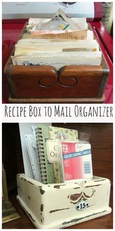 From Recipe Box to Mail Organizer www.organizedclutterqueen.blogspot.com