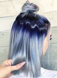 Gorgeous Blue Hair Color Ideas with Top Bun Styles in 2019 | Stylezco