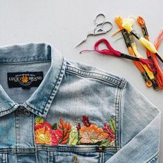 We love denim, but we love a cute embroidered jeans outfit more than anything. It's a unique way of wearing a common item. The great thing about embroidered jeans is . Diy Embroidery, Embroidery Stitches, Embroidery Designs, Denim Jacket Embroidery, Embroidered Denim Jacket, Embroidery Letters, Knitting Stitches, Knitting Patterns, Crochet Patterns