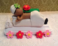 Custom spa Polymer clay cake topper that converts into a business card holder after party.