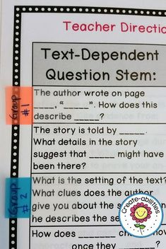 Text-Dependent Question Stems - Get your students working directly with the text by using the questions included in this 32 page resource. Your 3rd, 4th, 5th, or 6th grade classroom or homeschool upper elementary students will learn so much when you incorporate this into your reading lessons each day! Low prep and easy to use too! #QuestionStems #Reading (third, fourth, fifth, sixth graders) Guided Reading Questions, Reading Task Cards, Sixth Grade Reading, Question Stems, Text Dependent Questions, Reading Anchor Charts, Whole Brain Teaching, 3rd Grade Classroom, Mentor Texts