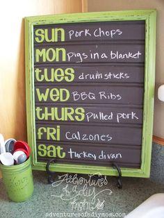 20 DIY Chalkboard Projects: Weekly menu planner board.