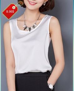 Fashionable Solid Color Scoop Neck Tank Top For Women