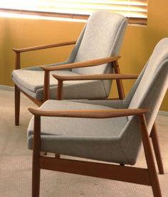 2 ARNE VODDER #810 SLAGELSE TEAK EASY Lounge CHAIR Danish Mid century Finn Juhl