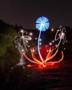 British photographer Michael Bosanko creates light sculpture photography. He does this by capturing the images of five colored torchlights, leaving the camera on a long exposure when he photographs them.there is no photo editing.