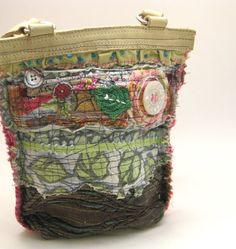 Upcycled Shoulder Bag Earthy Soft Garden Style by itzaChicThing, $70.00