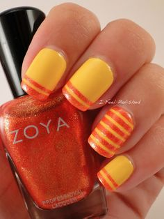 Love these colors.  -  Striping Tape Nail Art