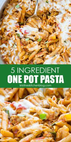 This easy one pot pasta recipe is made with just five ingredients! With sausage, cheese and sauce, this is a quick and easy dinner idea! #pasta #onepot Ground Beef Recipes For Dinner, Recipes Using Ground Beef, Best Dinner Recipes, Healthy Beef Recipes, Vegetable Recipes, Vegetarian Recipes, Easy Recipes, Delicious Recipes, Chicken Recipes