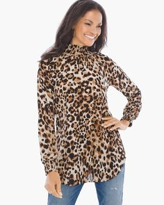 037f16d54d5cf This flowing cheetah-print top will leap out from your closet with  beautiful smocked details. Chico s