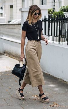 khaki culottes and espadrilles #beautyfashion
