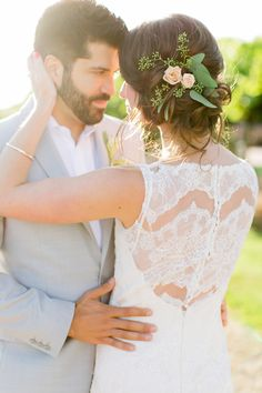 lace dress detail - photo by Milou and Olin http://ruffledblog.com/romantic-blush-winery-wedding