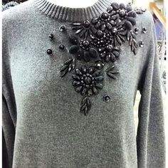 This is gorgeous, and the best part it's a great DIY project. Have an old sweater you still like but needs freshen up?? Many different possibilities.