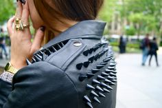 Danielle From We Wore What in the UNIF Spiked Moto Jacket