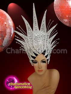 CHARISMATICO Diva Showgirl sequinned headdress with large white crystals White Glitter, Glitter Gel, Ice Queen, Snow Queen, Showgirls, Bandeau, Cabaret, Large White, Headgear