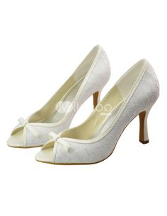 """Hermoso encaje blanco satinado 3 1/5 """"alto talón boda zapatos - Milanoo.com"""