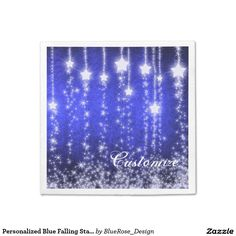 Shop Personalized Purple Falling Stars Holiday Napkins created by BlueRose_Design. Party Napkins, Cocktail Napkins, Christmas Napkins, Falling Stars, Online Friends, Rose Design, Vinyl Lettering, New Years Eve Party, Party Printables
