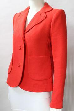 Carven Orange Wool Blend Crepe Blazer