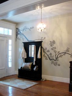 House Crashing: Luxe & Lovely (Part Two) - Cherry Tree painting on wall, Young House Love