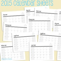 Make 2015 Calendars for Family and Friends with These Free Calendar Sheets: 2015 Free Printable Calendar Sheets