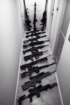 Very nice collection. Hell yeah- that's what I call home defense! Weapons Guns, Guns And Ammo, Zombie Weapons, Rifles, Airsoft, Armas Wallpaper, Armas Ninja, By Any Means Necessary, Fire Powers