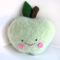 Light Green Apple Foo - Recycled Cashmere Sweater Plush Toy by sighfoo on Etsy