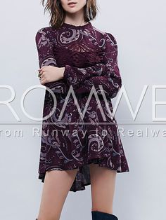 Purple Long Sleeve Vintage Print Dress 22.99