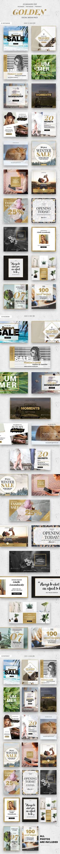 Golden Social Media Pack - 20 Banners For Facebook, Instagram and Pinterest - Template PSD