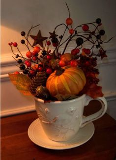I like the idea of just having a teacup with a little Autumn here and there.