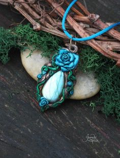 Blue Rose pendant - labradorite necklace - flower spirit jewelry - wiccan mineral pendant - polymer clay - ooak - rose amulet - fores by GloriosaArt