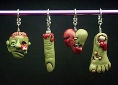 made by polymer clay that you put in the oven you canbuy at micheals yhis was each sculpted