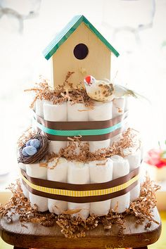 Bird House Diaper Cake - 10 Creative Diaper Cakes for a Baby Shower!  no instructions, but easy enough to figure out