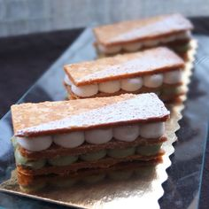 matcha white chocolate and chestnut millefeuilles - lili's cakes