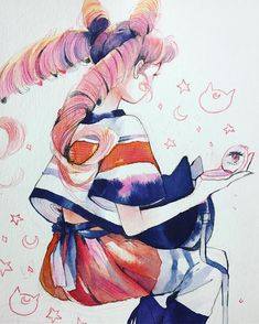Solid stripes - Chibiusa always ends up being the model for these outfits. #doodledays #sailormoon