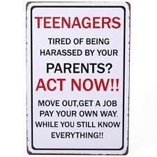 Teenagers Act Now! Shabby Chic Vintage Retro Metal Bedroom Door Wall Sign Plaque