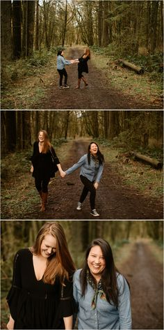 What to wear for engagement photos: black and chambray! These same-sex Portland couples photos were taken by Katy Weaver Photography in Forest Park Engagement Photo Outfits, Engagement Couple, Engagement Pictures, Engagement Shoots, Wedding Engagement, Couple Photography, Photography Ideas, When I Get Married, Forest Park