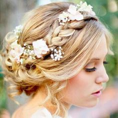 Boho Wedding hair flower headband soft waves