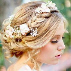 Boho Wedding hair flower headband soft waves