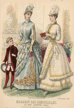 """This fashion plate shops the asymmetrical cuts and draping of skirts in the mid- to-late bustle period. Hats have grown taller and skirts are not yet """"tabletops."""" Magasin des Demoiselles 1885"""