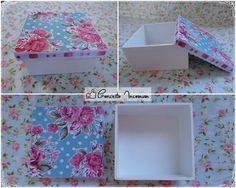 caixa em mdf, com scrap floral.