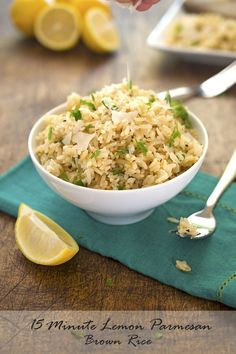 15 minute Lemon Parmesan Brown Rice. A healthy side dish made with fresh squeezed lemon juice, Parmesan cheese and fresh parsley. #recipe #healthy #rice