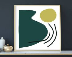 Large Abstract Art, Printable Abstract Art, Abstract Painting, Green Art Print, large wall art, Green and Gold, Mid Century Art, 40x40 print