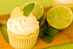 Mojito Cupcakes. These look fun. Wonder how they'd work with rum extract...