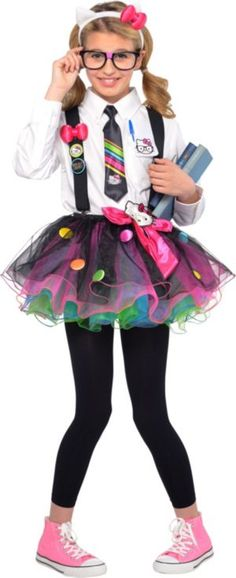 Be nerdy-cute in our Hello Kitty Nerd Costume! Girls Hello Kitty Nerd Costume includes a tutu, Hello Kitty headband, neck tie, suspenders and Hello Kitty buttons. Kid Nerd Costume, Nerd Halloween Costumes, Nerd Costumes, Halloween Costumes For Girls, Costume Ideas, Diy Halloween Games, Halloween Projects, Halloween 2019, Costumes For Women