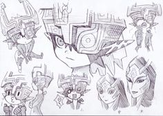 Midna's artworks (from The Legend of Zelda: Twilight Princess). The Legend Of Zelda, Link And Midna, Zelda Drawing, Zelda Twilight Princess, Hyrule Warriors, Fandom, Wind Waker, Fan Art, Cool Sketches