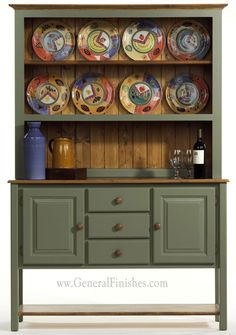 Painted with General Finishes Basil Green Milk Paint for Furniture. Try this in addition Annie Sloan Chalk Paint. Custom colors available for professional users at GeneralFinishes.com. Available at unfinished furniture stores - www.buyunfinishedfurniture.com, Rockler and Woodcraft Woodworking stores throughout U.S.