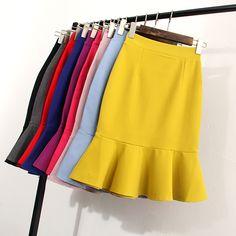 Windreama New Summer All-Match Skirt High Waist Slim Skirts Womens Ruffles Hem Office Wear - Business Attire Business Professional Outfits, Business Outfits, Business Attire, Business Formal, Business Fashion, Business Casual, Stylish Office Wear, Work Wear Office, Office Outfits Women