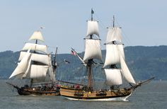 The brig Lady Washington and her companion ship, the topsail ketch Hawaiian Chieftain